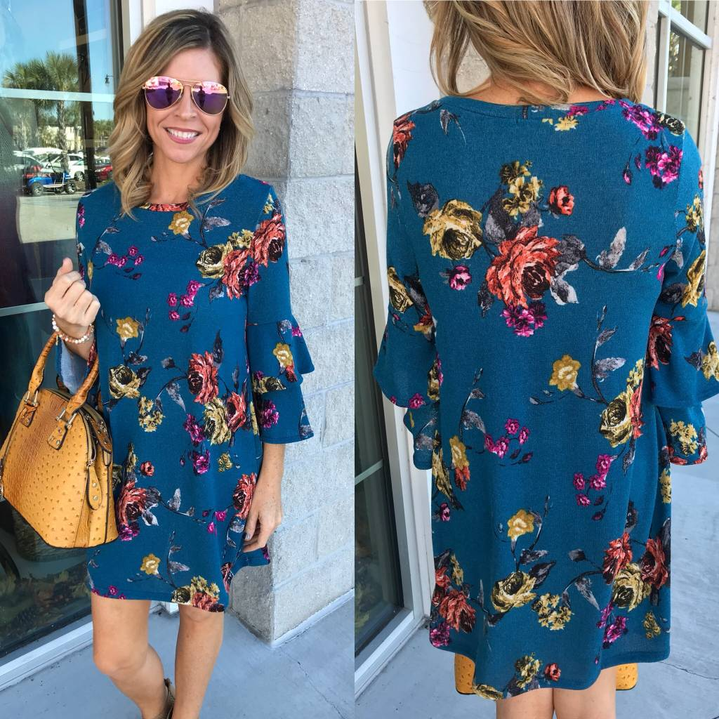 Knit Floral Dress - Teal