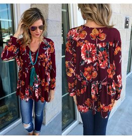 Floral Knit Top - Burgundy