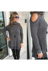 Cold Shoulder Sweater - Charcoal