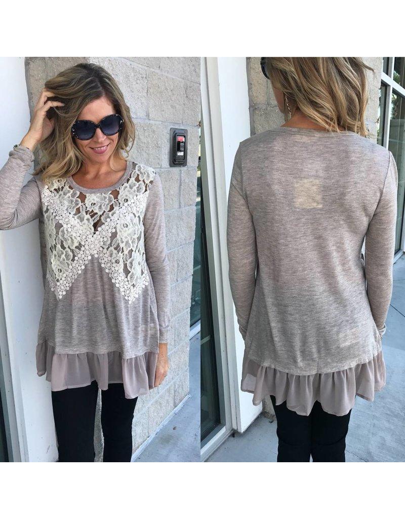 Crochet Detail Sweater Tunic - Beige