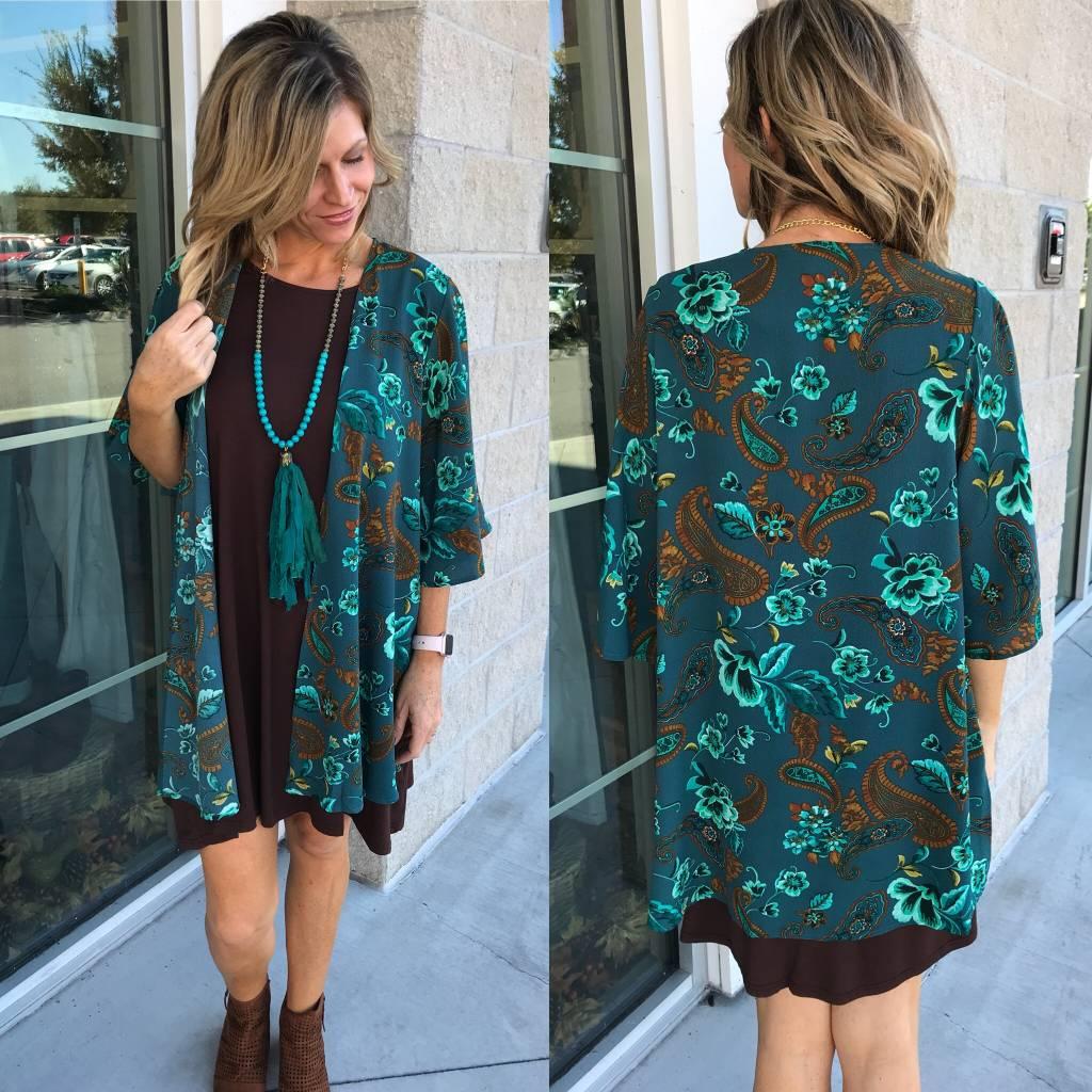 Paisley Kimono - Green
