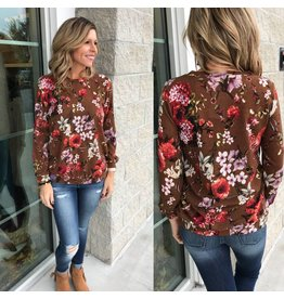 Floral Sweater Top - Brown