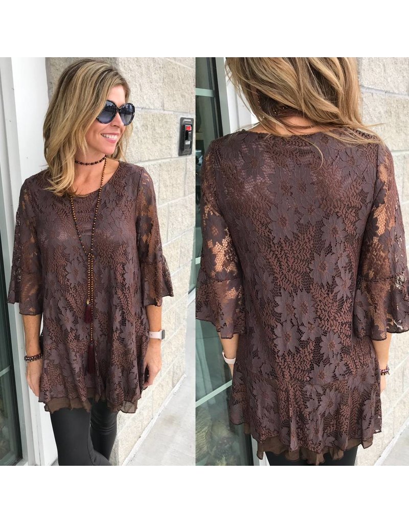Lace Tunic -Brown