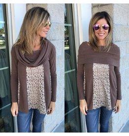 Animal Print Cowl Neck Sweater - Brown