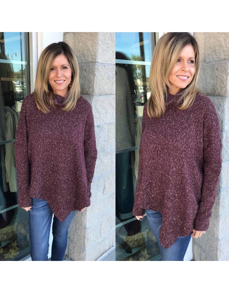 Turtle Neck Sweater - Maroon