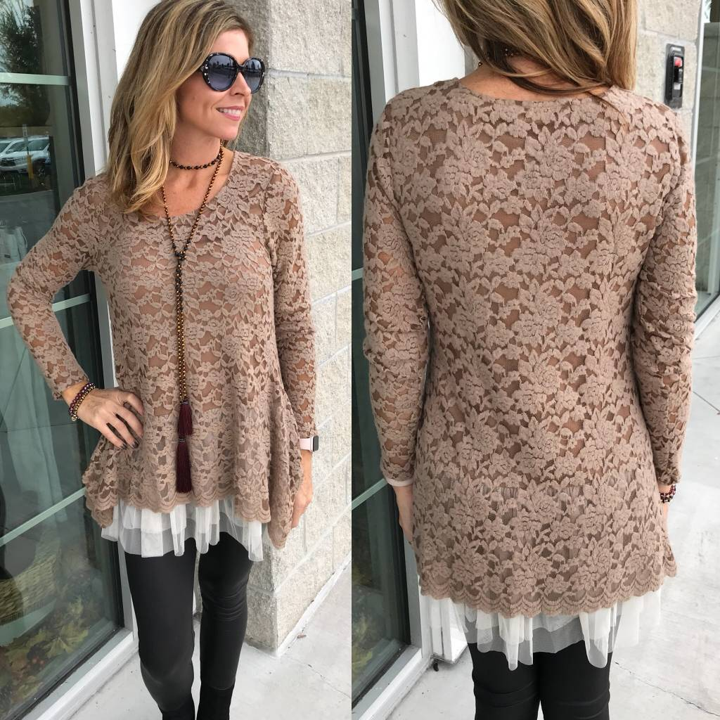 Lace Knit Tunic - Brown
