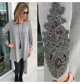 Lace Detail Tunic - Grey