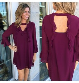 Ruffle Detail Dress - Wine