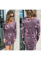 Velvet Floral Dress - D.Lavender