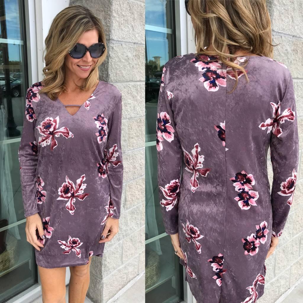 Velvet Floral Dress - D.Lavender