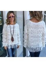 Fringe Detail Sweater - Cream FINAL SALE