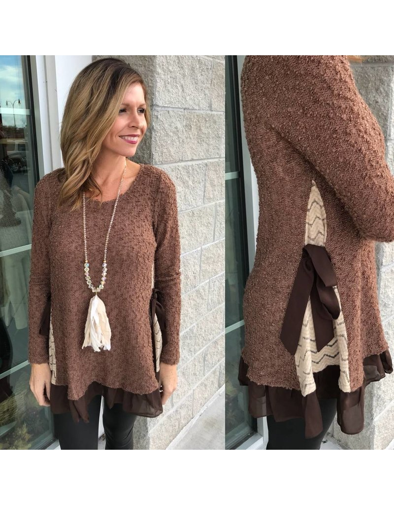 Chevron Side Detail Sweater - Brown
