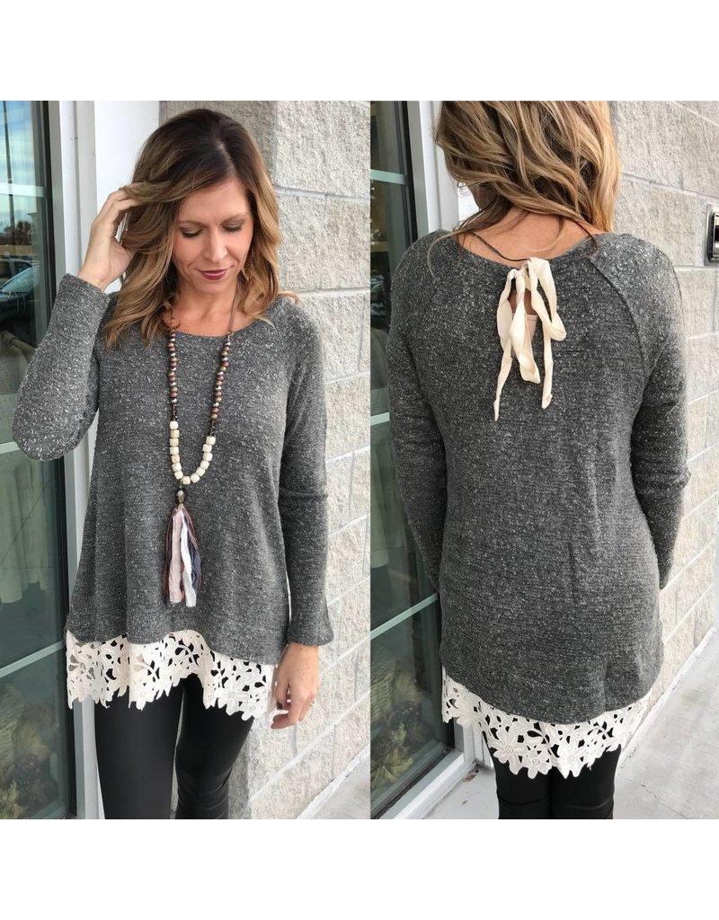 Crochet Lace Trim Sweater - Grey