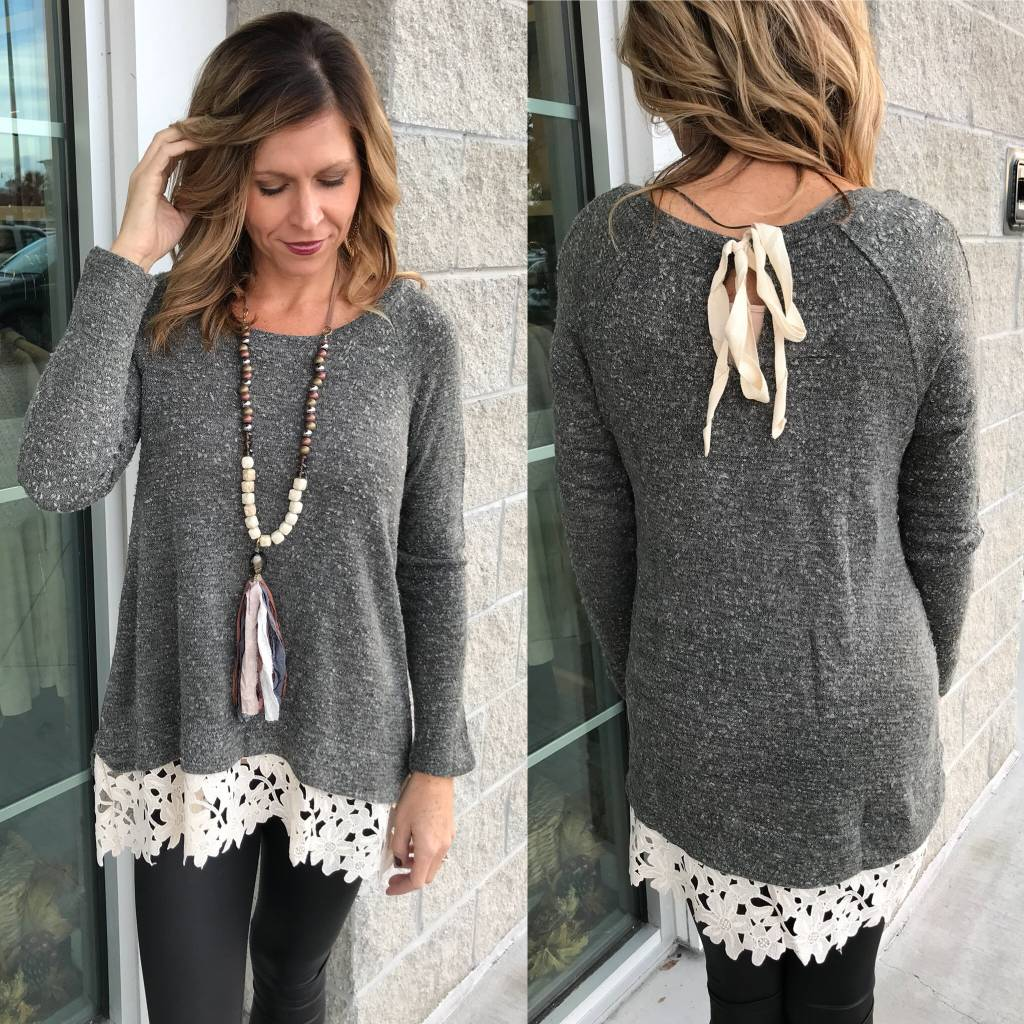 Crochet Lace Trim Sweater - Grey