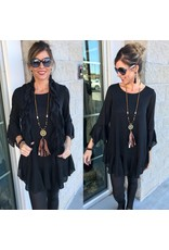 Knit Tunic W/Scarf - Black