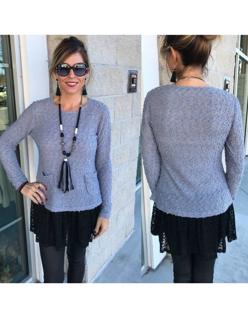 Lace Detail Sweater W/Pockets - Grey