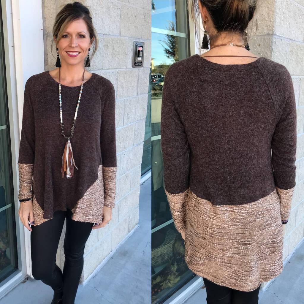 Textured Detail Sweater - Brown