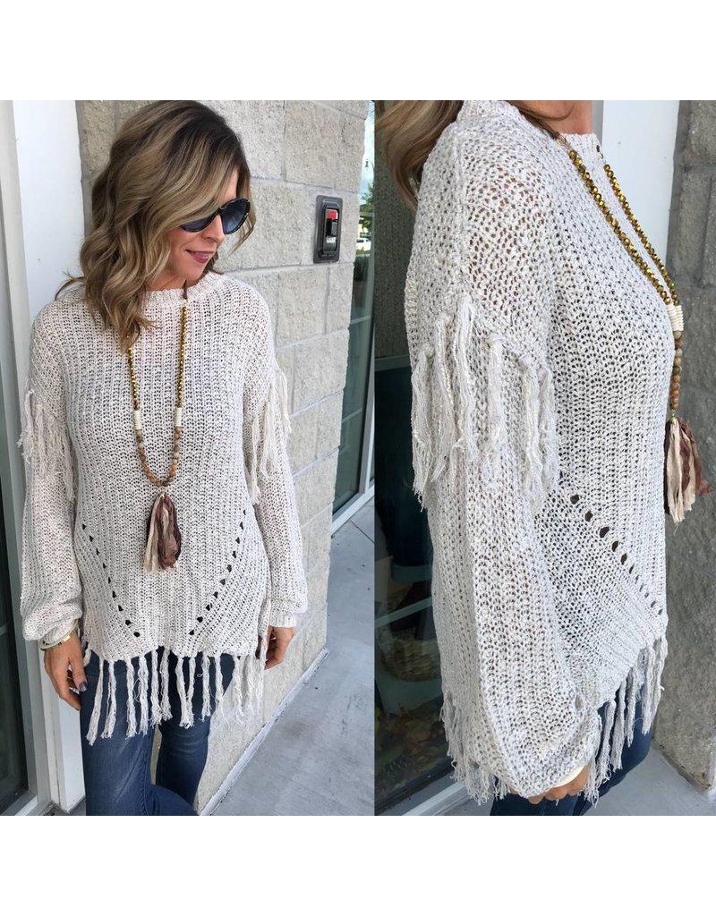Fringe Detail Sweater - Oatmeal