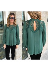 Lace Detail Top - Hunter Green