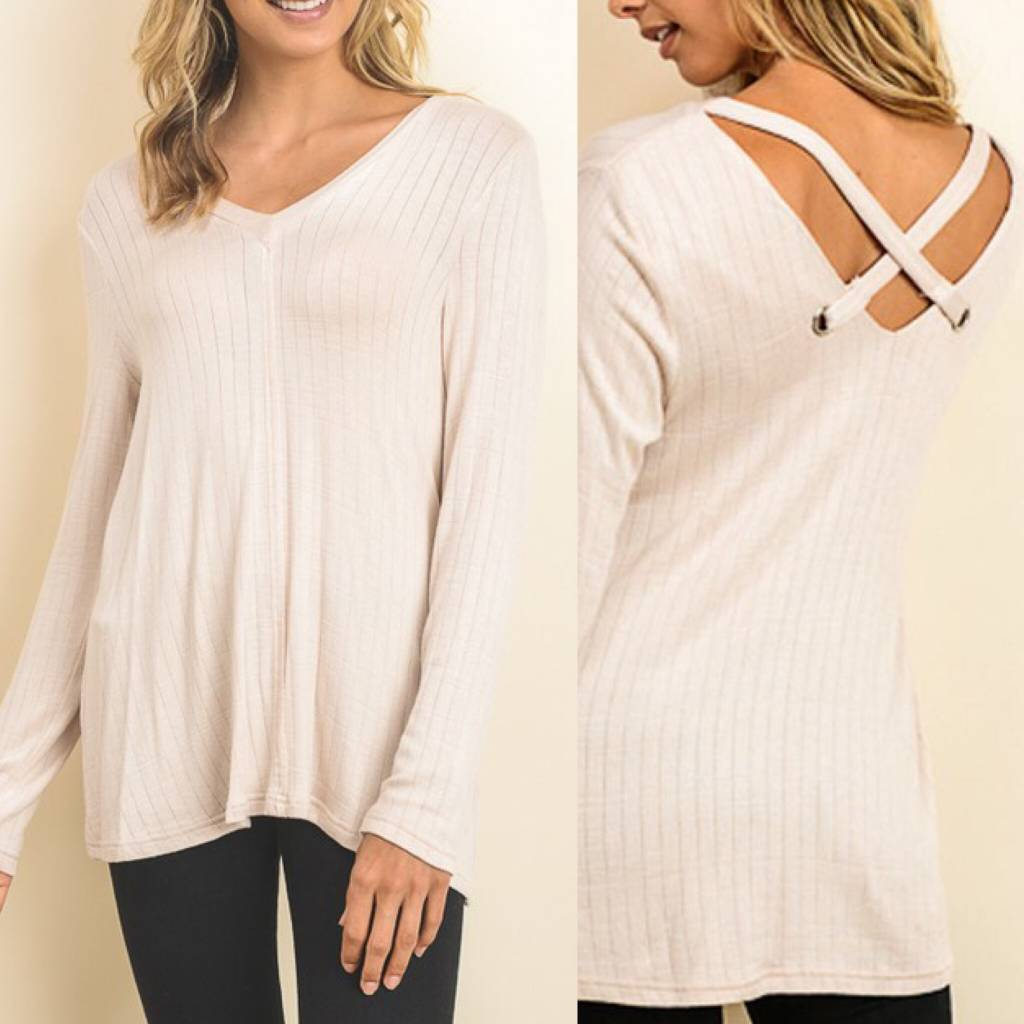 Criss Cross Back Knit Tunic - Taupe