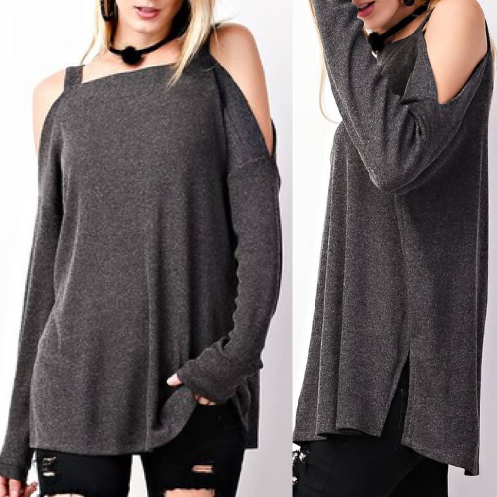 Cold Shoulder Sweater Tunic - Charcoal
