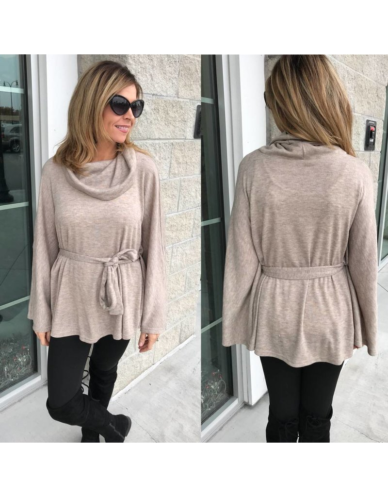 Cowl Neck Top - Taupe