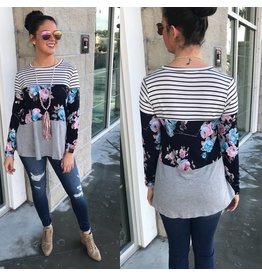 Stripe and Floral Top - Navy