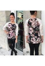 Velvet Sleeves Floral Top - Black
