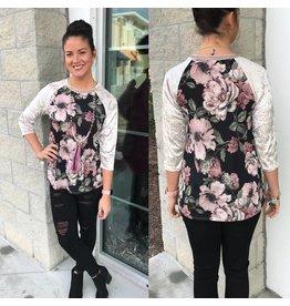 Velvet Sleeves Floral Top - Black