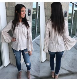 Bell Sleeves Striped Top - Taupe