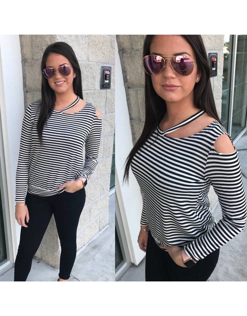 Striped Cold Shoulder Top - Black