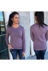 Pearl Detail Sweater - Dusty Lavender