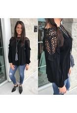 Crochet Neckline Top - Black