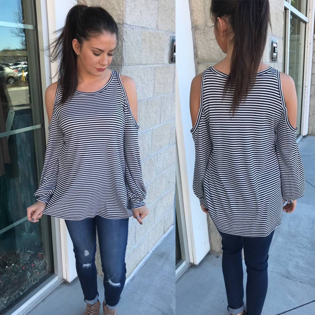 Striped Cold Shoulder Top -Navy