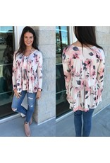 3442 Floral Top - Taupe