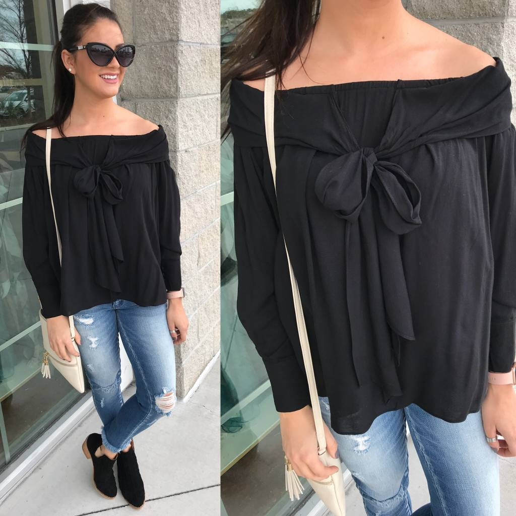 Bow Detail Off Shoulders Top - Black
