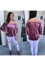 Off Shoulders Velvet Top - Dusty Pink