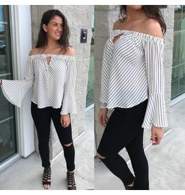 Striped Off Shoulders Top - Ivory