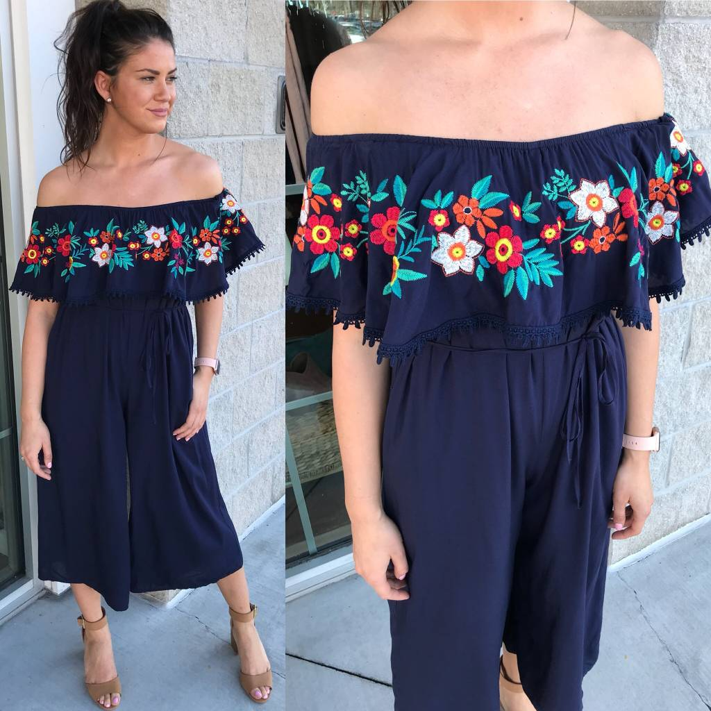 Embroidery Detail Jumpsuit - Navy