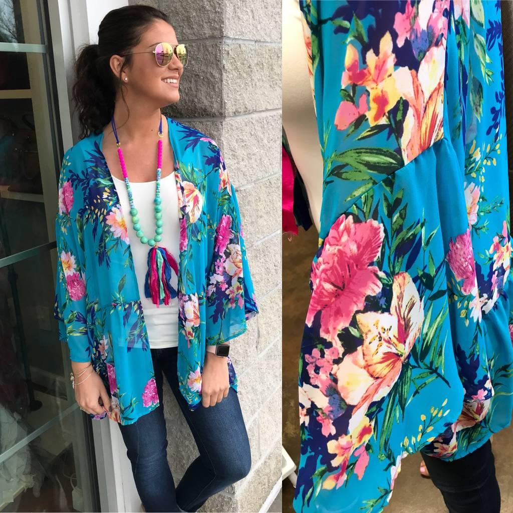 Floral Kimono - Aqua