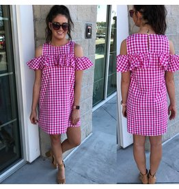 Cold Shoulder Gingham Dress - Fuchsia