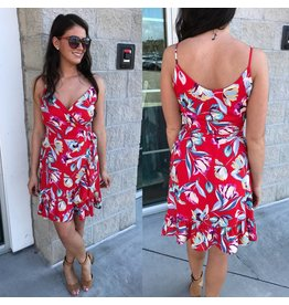 Floral Wrap Dress - Tomato Red