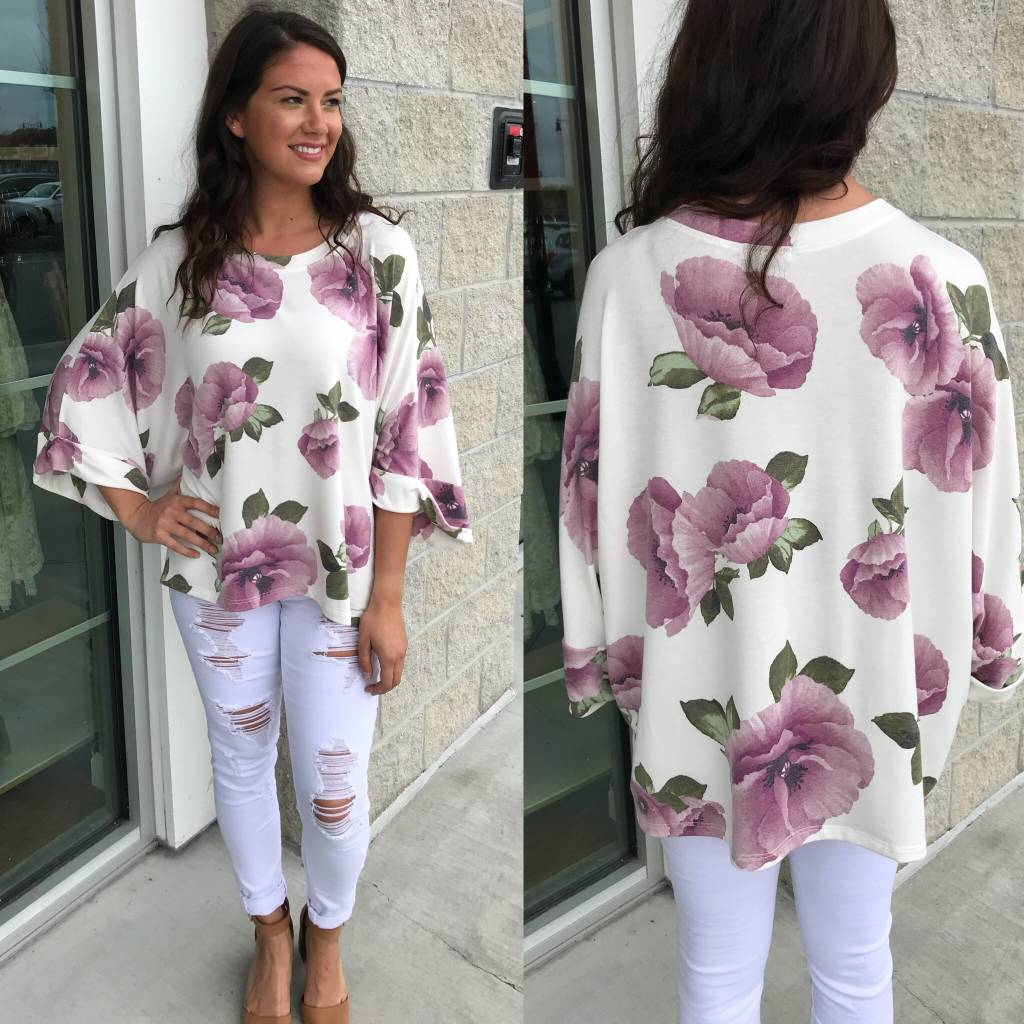 Floral Oversized Shirt - Ivory