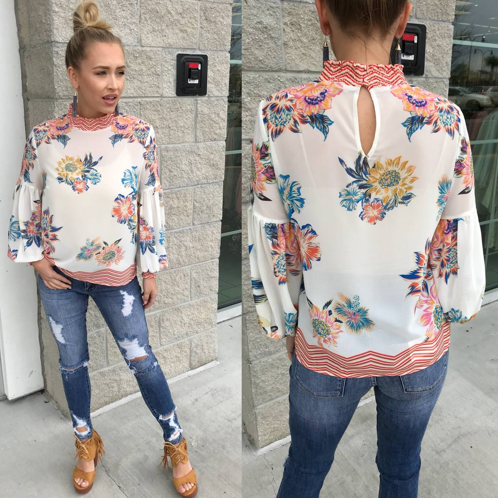 Floral Blouse - Ivory