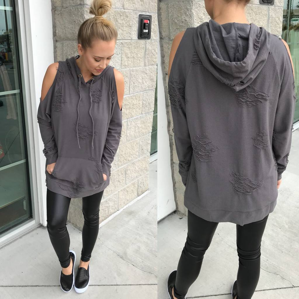 Cold Shoulder Distressed Hoodie - Charcoal