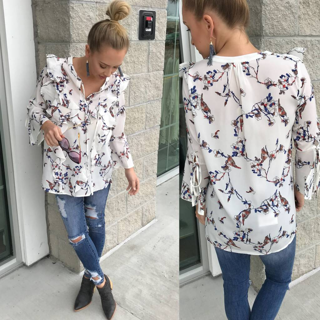 Ruffle Detail Floral Top - White