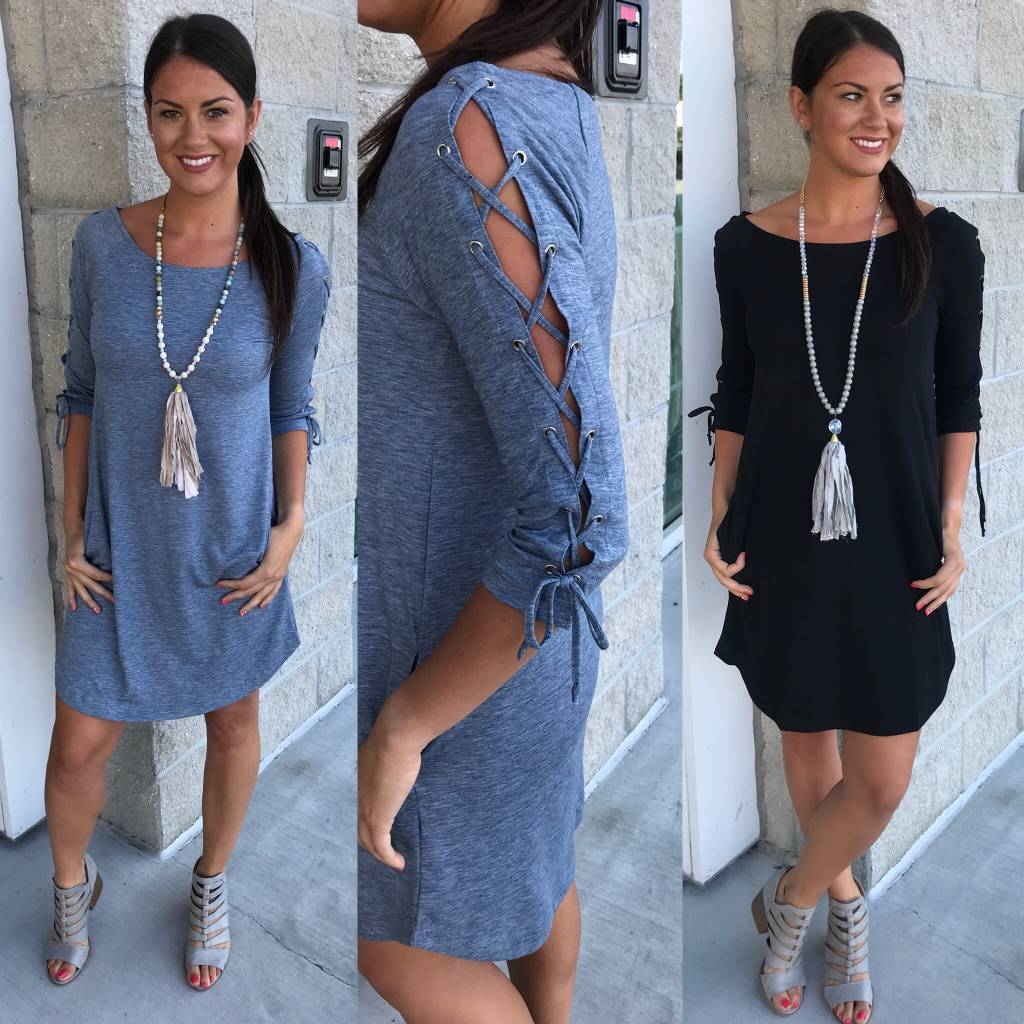 Lace Up Detail Dress