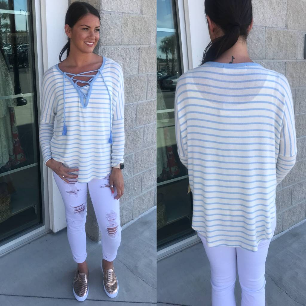 Striped Lace Up Hacci Tunic- Blue