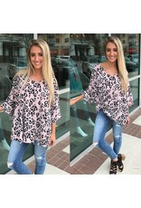 Animal Print Oversized Tunic - Pink