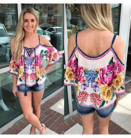 Open Shoulder Floral Top - Ivory